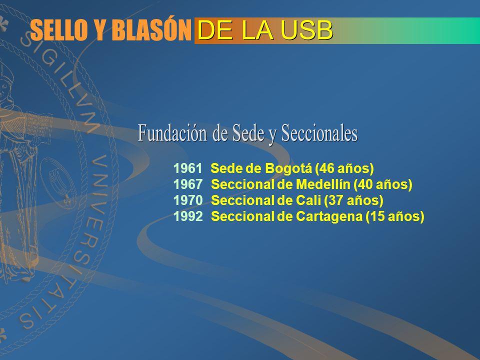 SELLO Y BLASÓN DE LA USB 1961 Sede de Bogotá (46 años) 1967Seccional de Medellín (40 años) 1970Seccional de Cali (37 años) 1992Seccional de Cartagena