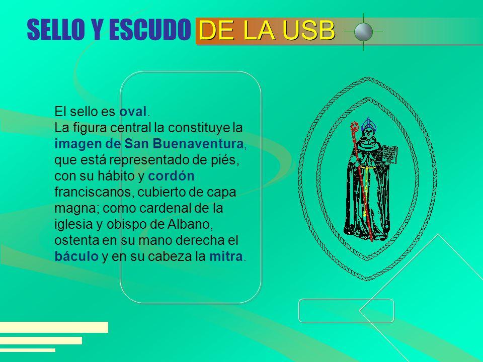 El sello es oval. La figura central la constituye la imagen de San Buenaventura, que está representado de piés, con su hábito y cordón franciscanos, c