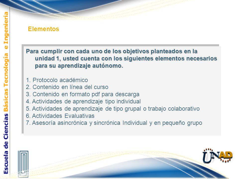 Para cumplir con cada uno de los objetivos planteados en la unidad 1, usted cuenta con los siguientes elementos necesarios para su aprendizaje autónom