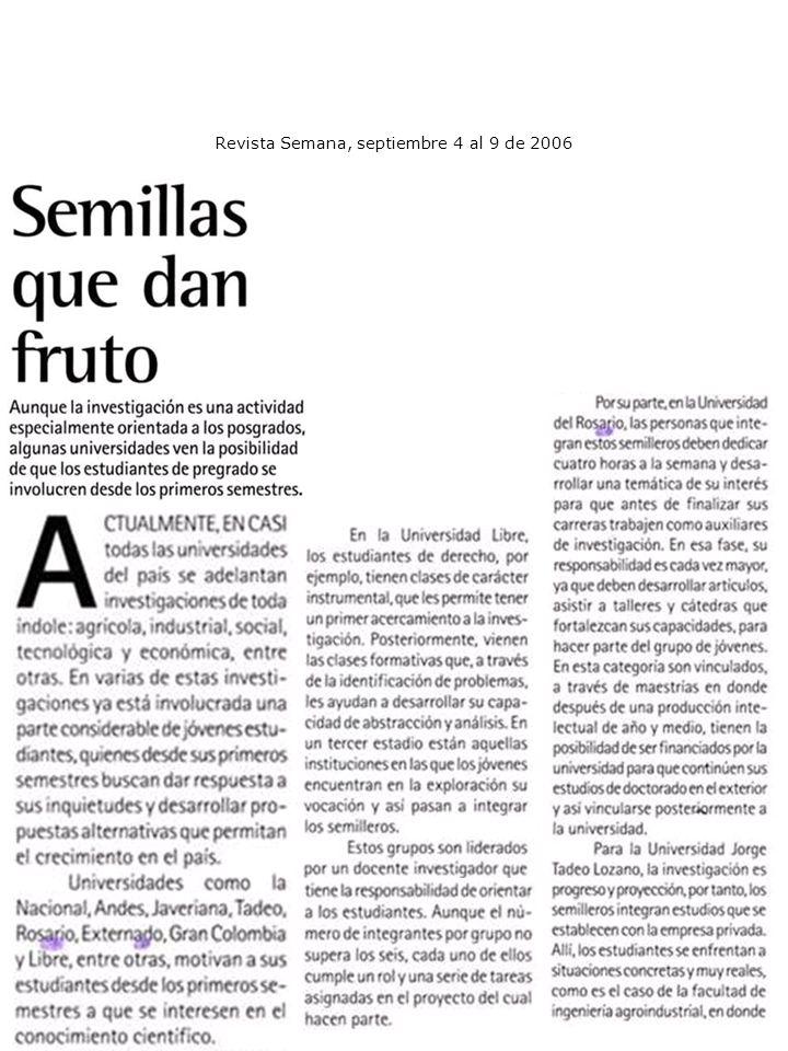Revista Semana, septiembre 4 al 9 de 2006