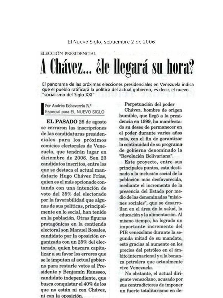 El Nuevo Siglo, septiembre 2 de 2006