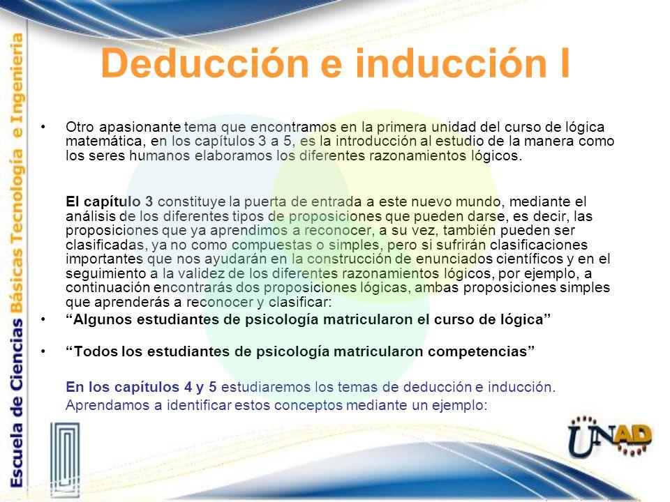 Deducción e inducción I Otro apasionante tema que encontramos en la primera unidad del curso de lógica matemática, en los capítulos 3 a 5, es la intro