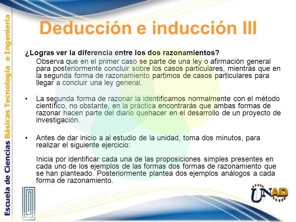 Deducción e inducción III ¿Logras ver la diferencia entre los dos razonamientos? Observa que en el primer caso se parte de una ley o afirmación genera