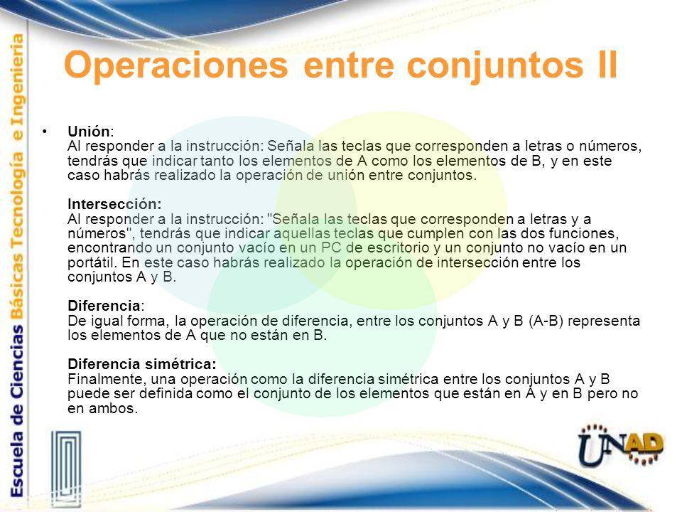 Operaciones entre conjuntos II Unión: Al responder a la instrucción: Señala las teclas que corresponden a letras o números, tendrás que indicar tanto