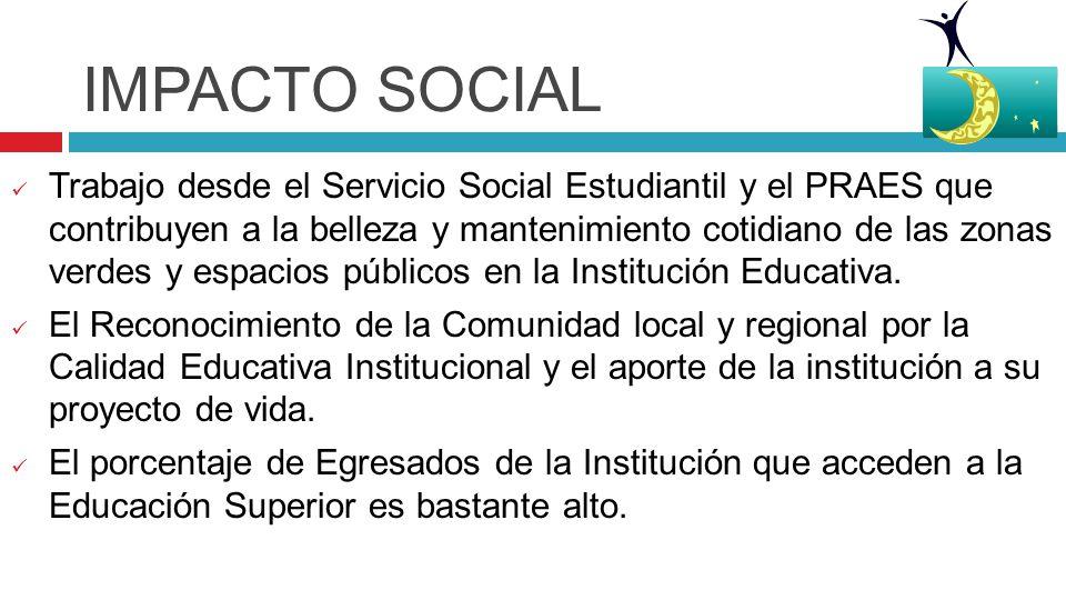 IMPACTO SOCIAL Trabajo desde el Servicio Social Estudiantil y el PRAES que contribuyen a la belleza y mantenimiento cotidiano de las zonas verdes y espacios públicos en la Institución Educativa.