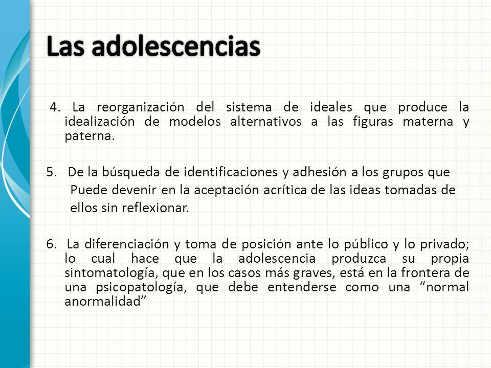 4. La reorganización del sistema de ideales que produce la idealización de modelos alternativos a las figuras materna y paterna. 5. De la búsqueda de
