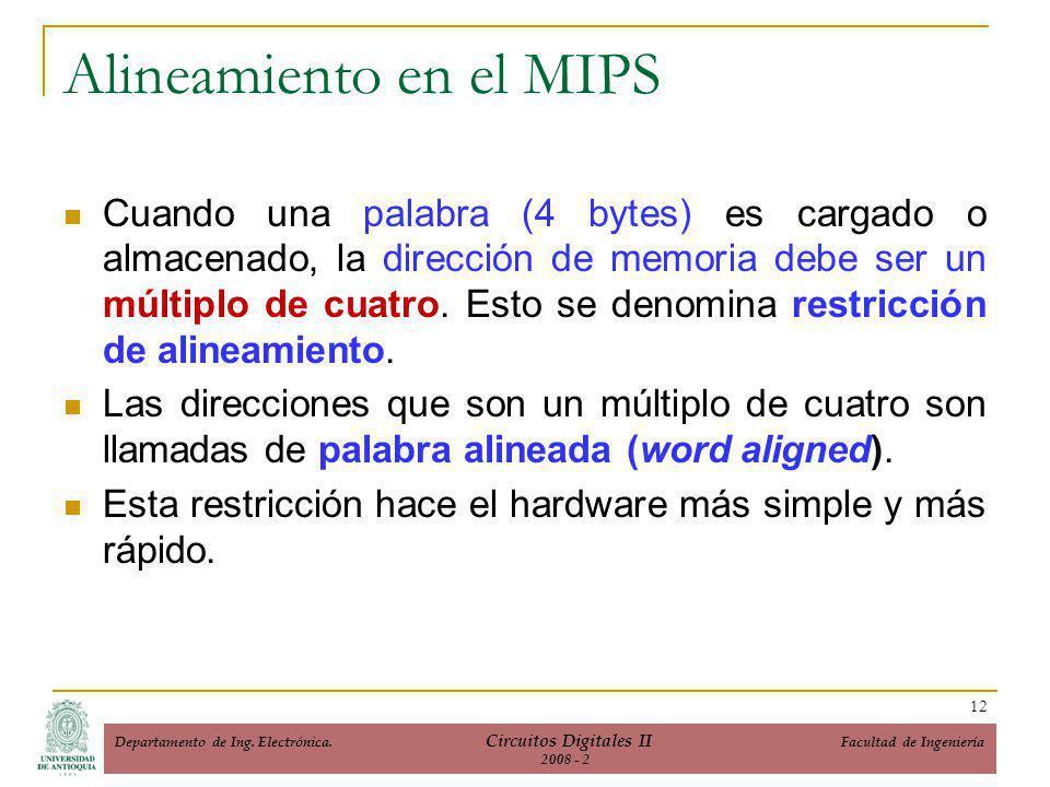 Cuando una palabra (4 bytes) es cargado o almacenado, la dirección de memoria debe ser un múltiplo de cuatro.