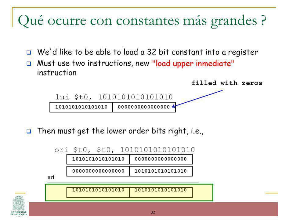 Qué ocurre con constantes más grandes ? 32
