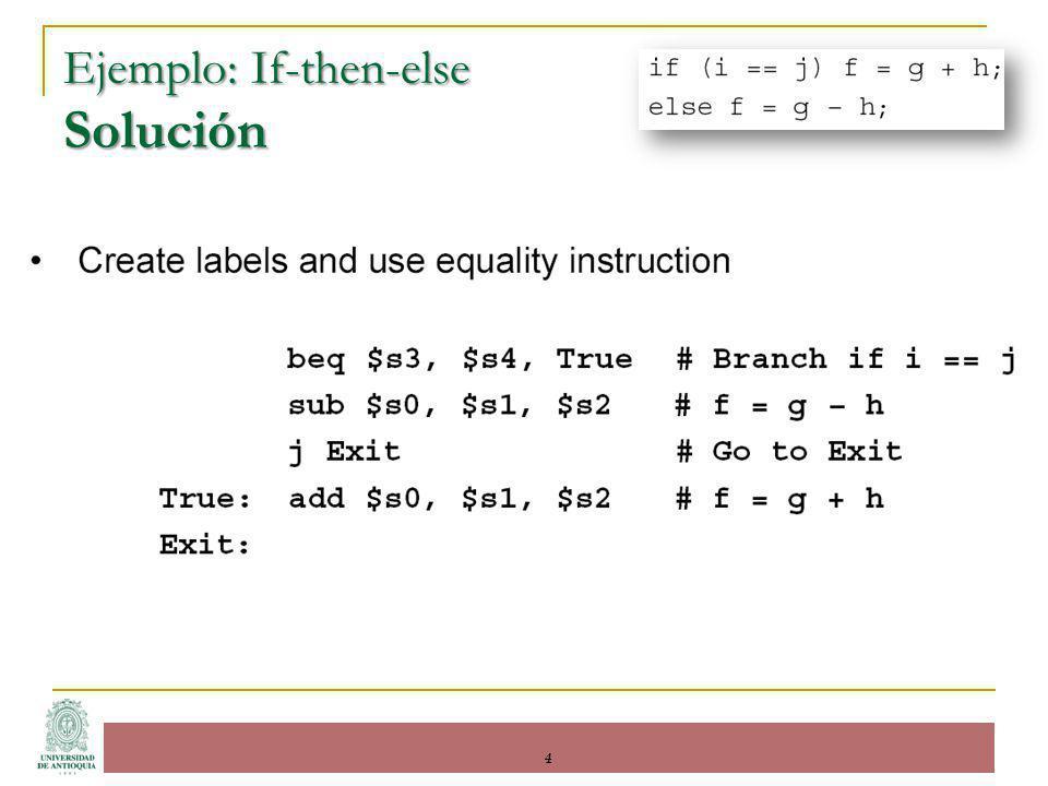 Ejemplo: If-then-else Solución 4