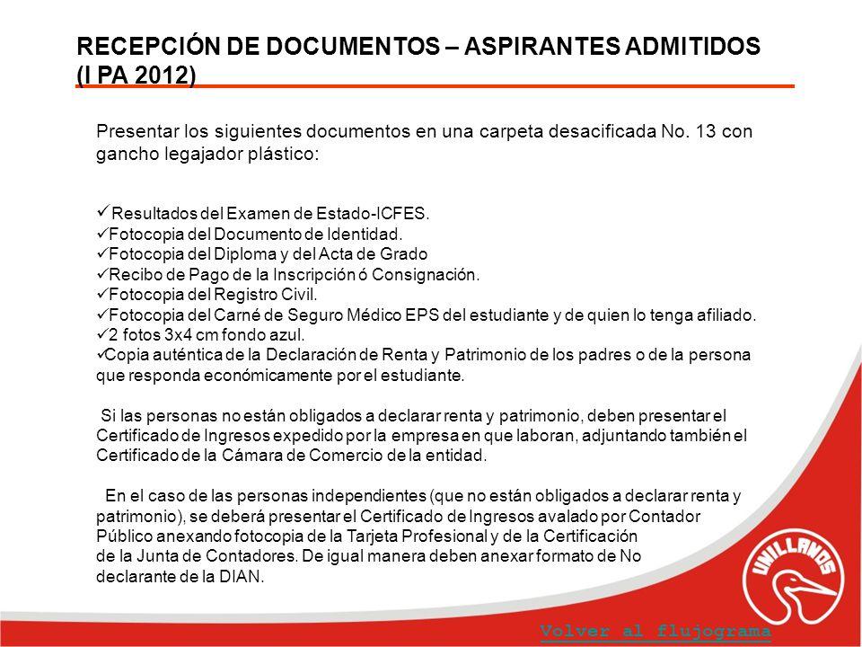RECEPCIÓN DE DOCUMENTOS – ASPIRANTES ADMITIDOS (I PA 2012) Volver al flujograma Presentar los siguientes documentos en una carpeta desacificada No. 13