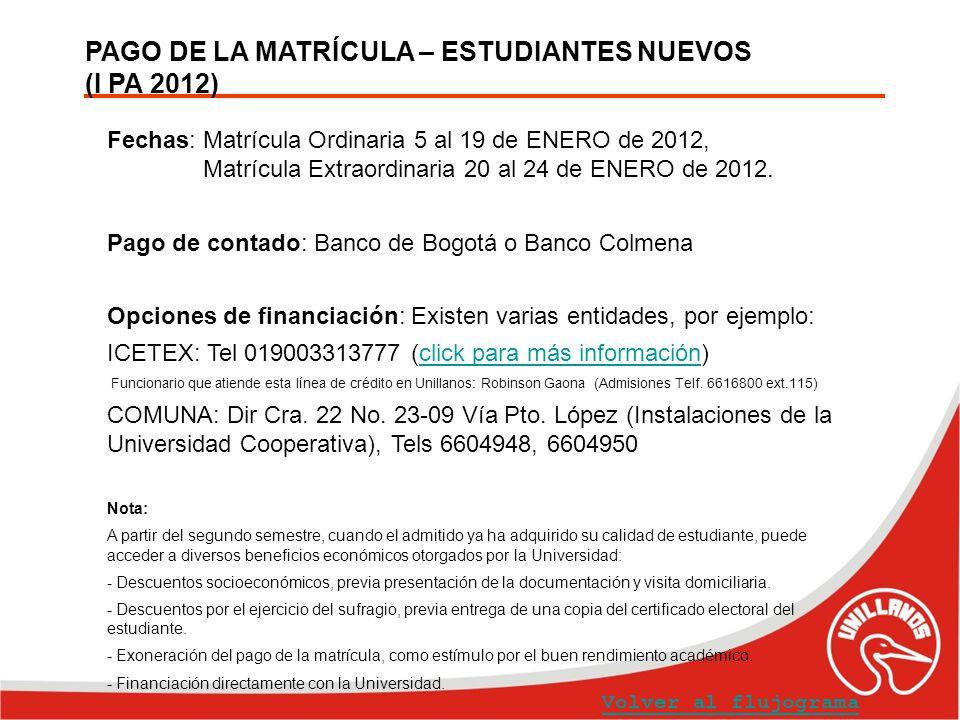 PAGO DE LA MATRÍCULA – ESTUDIANTES NUEVOS (I PA 2012) Volver al flujograma Fechas: Matrícula Ordinaria 5 al 19 de ENERO de 2012, Matrícula Extraordina
