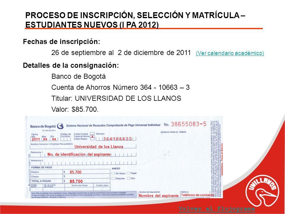 PROCESO DE INSCRIPCIÓN, SELECCIÓN Y MATRÍCULA – ESTUDIANTES NUEVOS (I PA 2012) Fechas de inscripción: 26 de septiembre al 2 de diciembre de 2011 (Ver