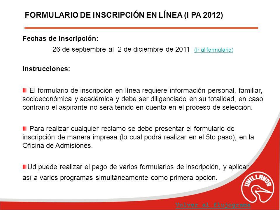FORMULARIO DE INSCRIPCIÓN EN LÍNEA (I PA 2012) Fechas de inscripción: 26 de septiembre al 2 de diciembre de 2011 (Ir al formulario) (Ir al formulario)