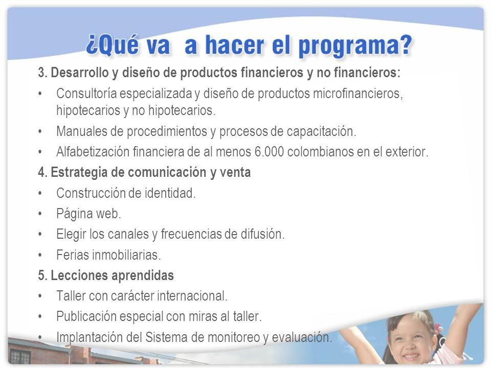 3. Desarrollo y diseño de productos financieros y no financieros: Consultoría especializada y diseño de productos microfinancieros, hipotecarios y no