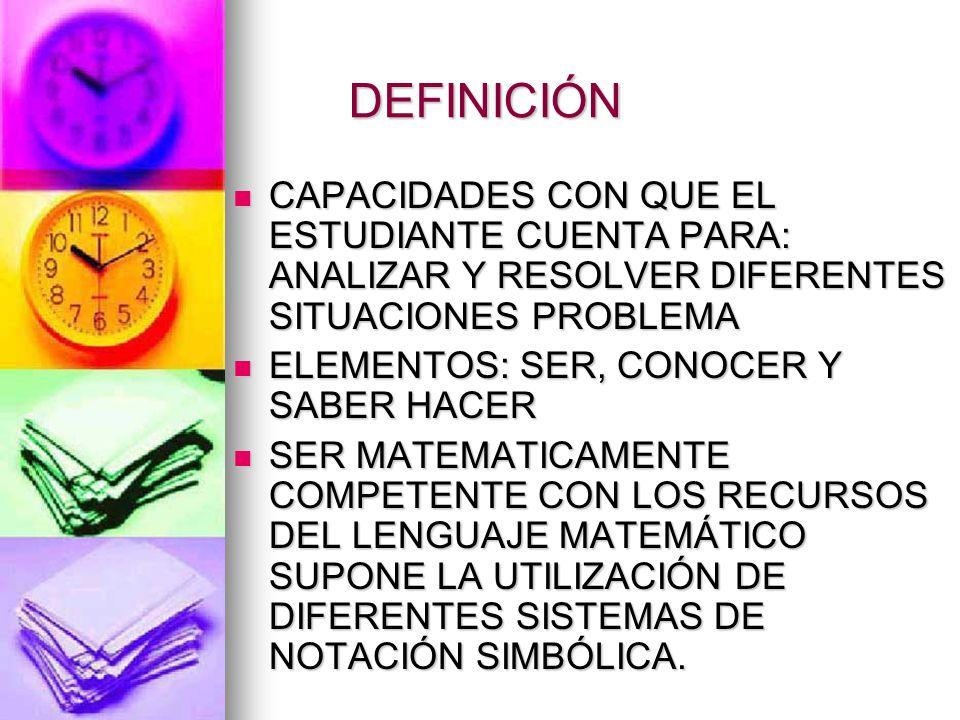 COMPETENCIAS MATEMÁTICAS Pensamiento Matemático, capacidad de abstracción, de trabajar objetos que no son concretos, que no son manipulables, sino que son objetos de pensamiento sobre los que hay que reflexionar, argumentar, con los que hay que operar, utilizar un lenguaje simbólico.