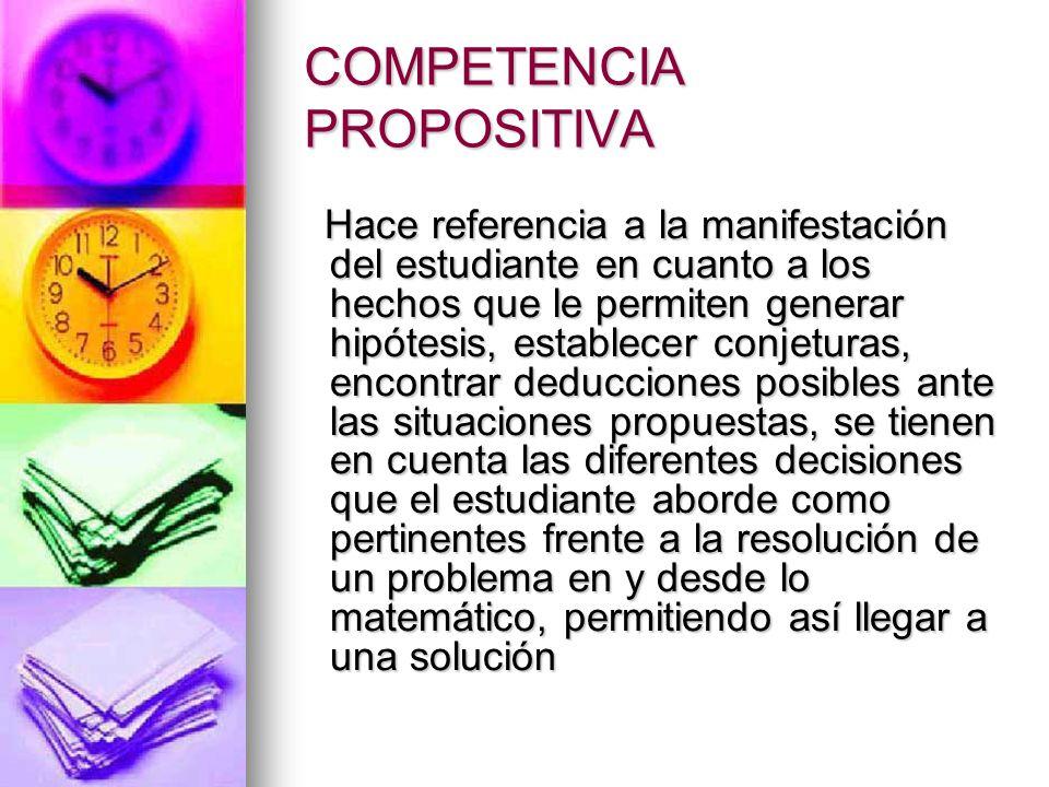 COMPETENCIAS ESPECÍFICAS EN MATEMATICAS COMUNICACIÓN: Capacidad para expresar ideas, interpretar, representar, usar diferentes tipos de lenguaje, describir relaciones.