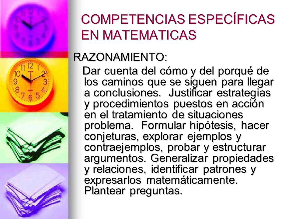 COMPETENCIAS ESPECÍFICAS EN MATEMATICAS PLANTEAMIENTO Y RESOLUCIÓN DE PROBLEMAS: PLANTEAMIENTO Y RESOLUCIÓN DE PROBLEMAS: Formular problemas a partir de situaciones dentro y fuera de la matemática.