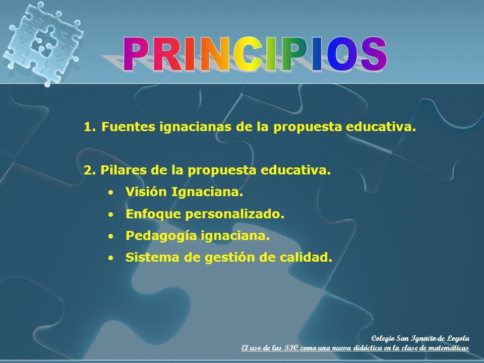 Colegio San Ignacio de Loyola El uso de las TIC como una nueva didáctica en la clase de matemáticas 1.Fuentes ignacianas de la propuesta educativa. 2.