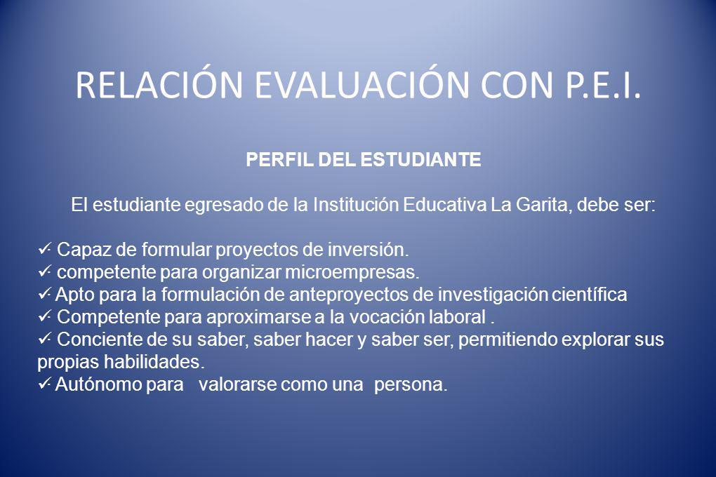 RELACIÓN EVALUACIÓN CON P.E.I. PERFIL DEL ESTUDIANTE El estudiante egresado de la Institución Educativa La Garita, debe ser: · Capaz de formular proye
