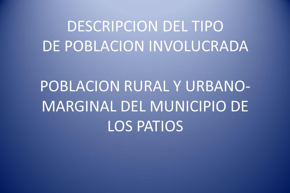 DESCRIPCION DEL TIPO DE POBLACION INVOLUCRADA POBLACION RURAL Y URBANO- MARGINAL DEL MUNICIPIO DE LOS PATIOS