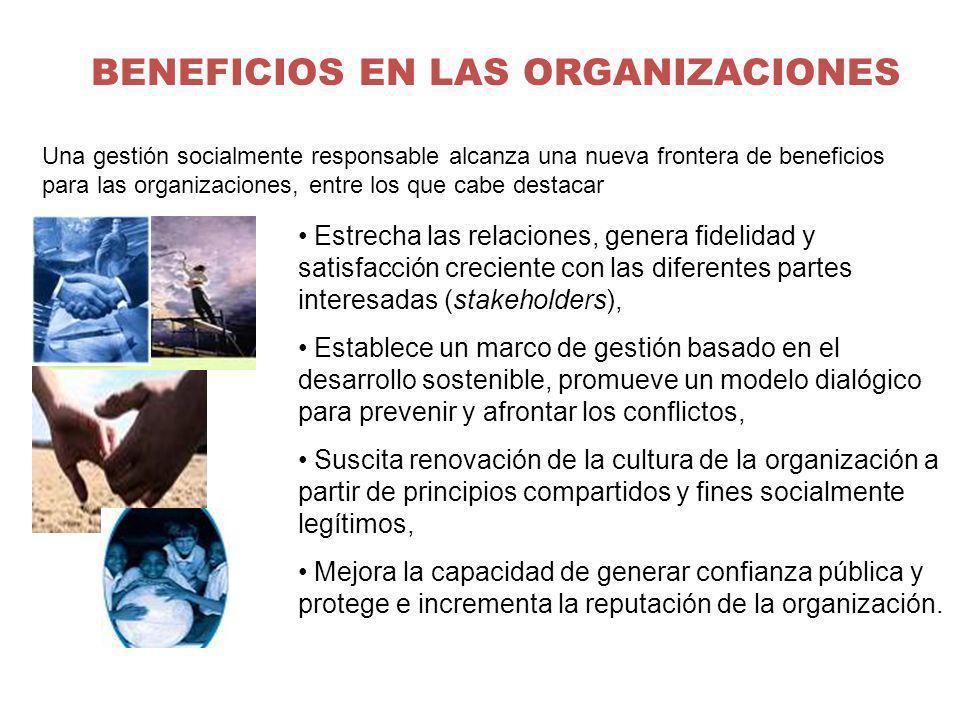BENEFICIOS EN LAS ORGANIZACIONES Estrecha las relaciones, genera fidelidad y satisfacción creciente con las diferentes partes interesadas (stakeholder
