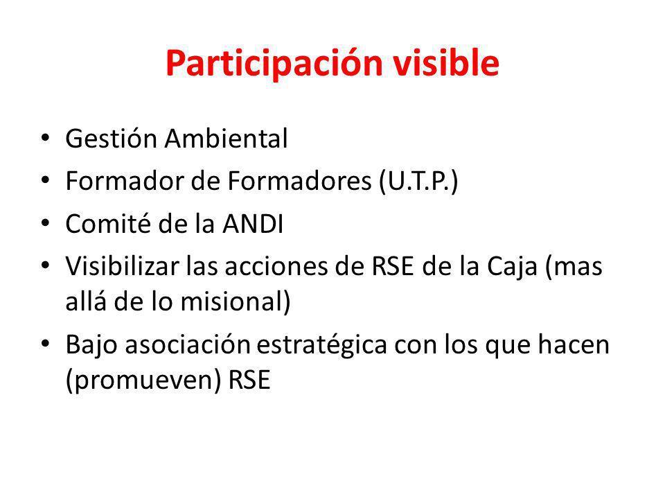 Participación visible Gestión Ambiental Formador de Formadores (U.T.P.) Comité de la ANDI Visibilizar las acciones de RSE de la Caja (mas allá de lo m