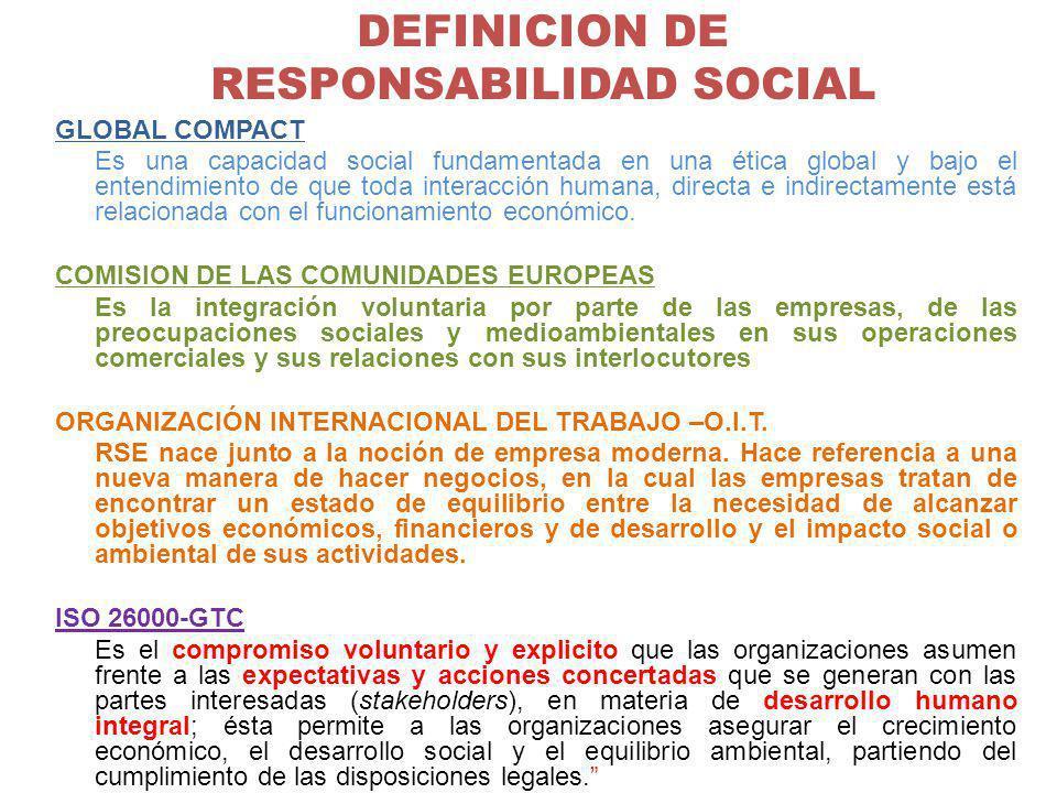 DEFINICION DE RESPONSABILIDAD SOCIAL GLOBAL COMPACT Es una capacidad social fundamentada en una ética global y bajo el entendimiento de que toda inter