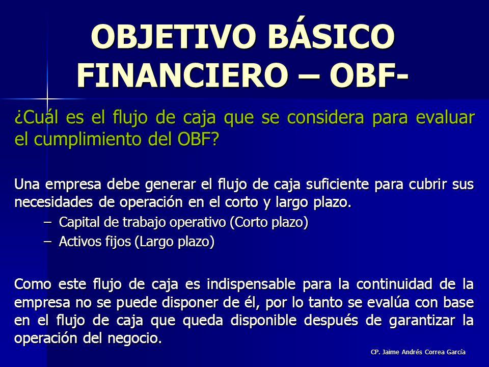 CP. Jaime Andrés Correa García ¿Cuál es el flujo de caja que se considera para evaluar el cumplimiento del OBF? Una empresa debe generar el flujo de c