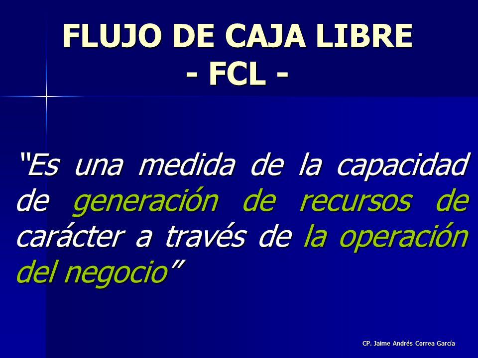 CP. Jaime Andrés Correa García FLUJO DE CAJA LIBRE - FCL - Es una medida de la capacidad de generación de recursos de carácter a través de la operació