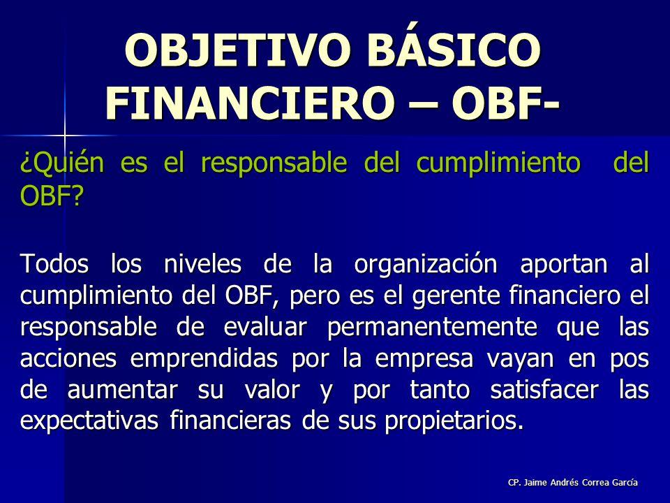 CP. Jaime Andrés Correa García ¿Quién es el responsable del cumplimiento del OBF? Todos los niveles de la organización aportan al cumplimiento del OBF