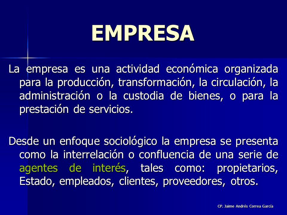 CP. Jaime Andrés Correa García La empresa es una actividad económica organizada para la producción, transformación, la circulación, la administración
