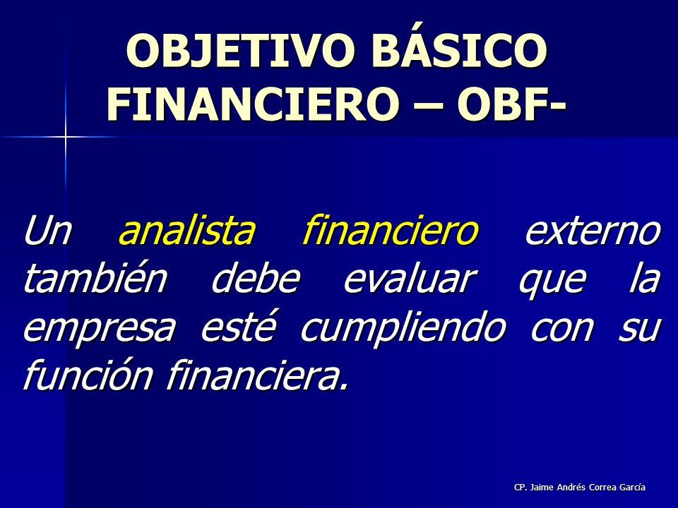 CP. Jaime Andrés Correa García Un analista financiero externo también debe evaluar que la empresa esté cumpliendo con su función financiera. OBJETIVO
