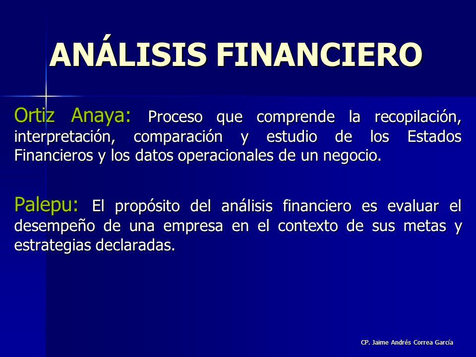 CP. Jaime Andrés Correa García Ortiz Anaya: Proceso que comprende la recopilación, interpretación, comparación y estudio de los Estados Financieros y