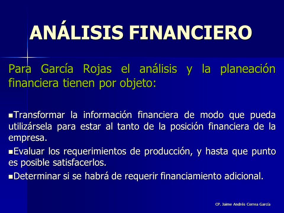 CP. Jaime Andrés Correa García Para García Rojas el análisis y la planeación financiera tienen por objeto: Transformar la información financiera de mo