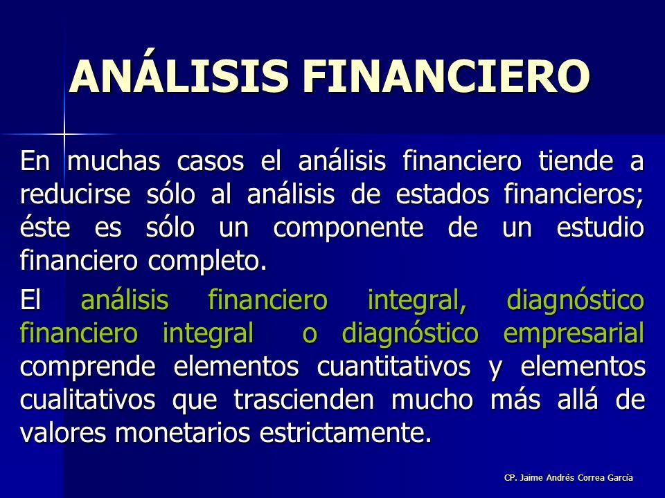 CP. Jaime Andrés Correa García En muchas casos el análisis financiero tiende a reducirse sólo al análisis de estados financieros; éste es sólo un comp