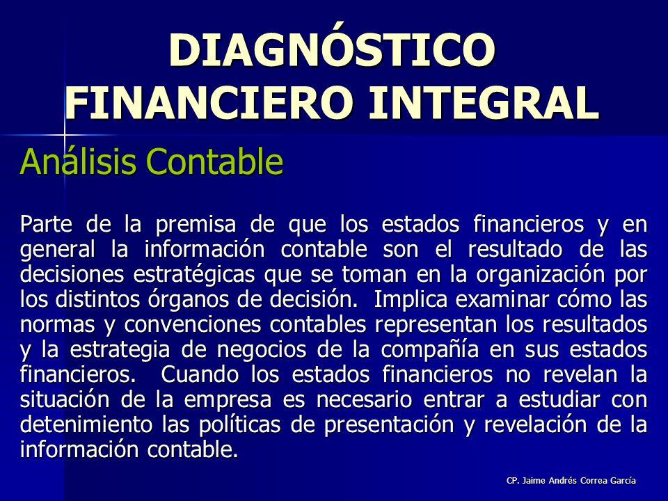 CP. Jaime Andrés Correa García Análisis Contable Parte de la premisa de que los estados financieros y en general la información contable son el result