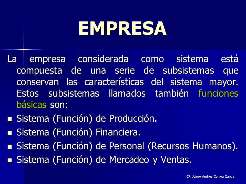 CP. Jaime Andrés Correa García La empresa considerada como sistema está compuesta de una serie de subsistemas que conservan las características del si