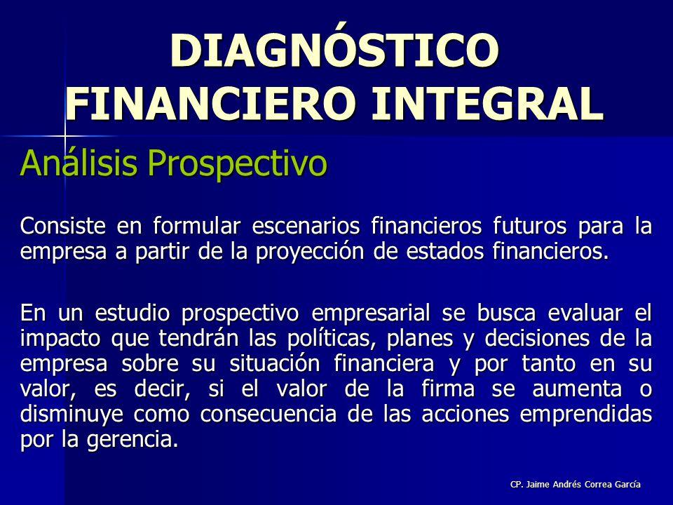 CP. Jaime Andrés Correa García Análisis Prospectivo Consiste en formular escenarios financieros futuros para la empresa a partir de la proyección de e