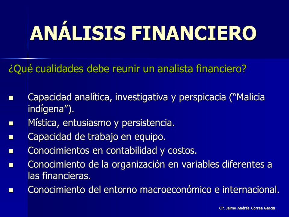 CP. Jaime Andrés Correa García ¿Qué cualidades debe reunir un analista financiero? Capacidad analítica, investigativa y perspicacia (Malicia indígena)