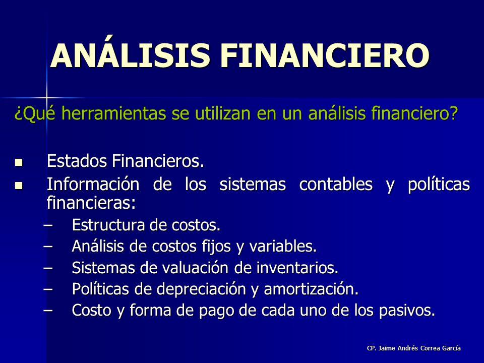 CP. Jaime Andrés Correa García ¿Qué herramientas se utilizan en un análisis financiero? Estados Financieros. Estados Financieros. Información de los s