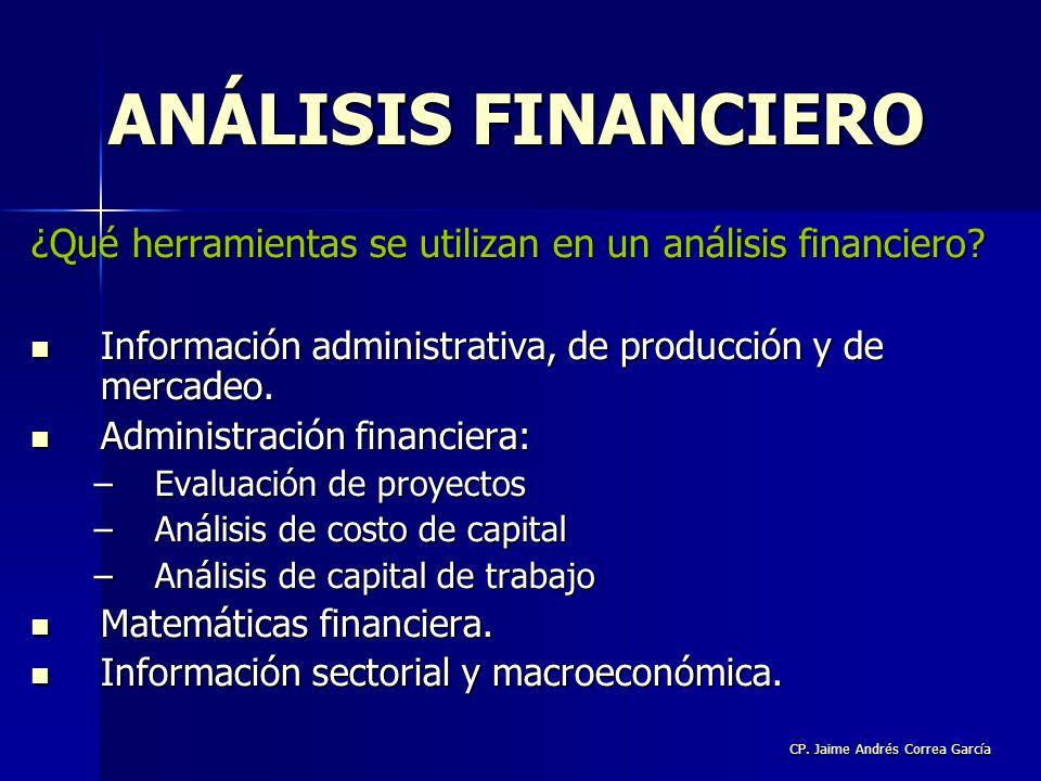 CP. Jaime Andrés Correa García ¿Qué herramientas se utilizan en un análisis financiero? Información administrativa, de producción y de mercadeo. Infor