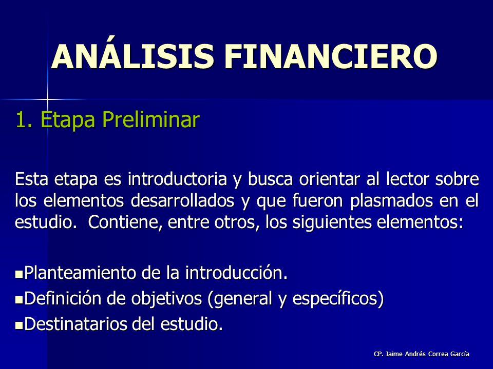 CP. Jaime Andrés Correa García 1. Etapa Preliminar Esta etapa es introductoria y busca orientar al lector sobre los elementos desarrollados y que fuer