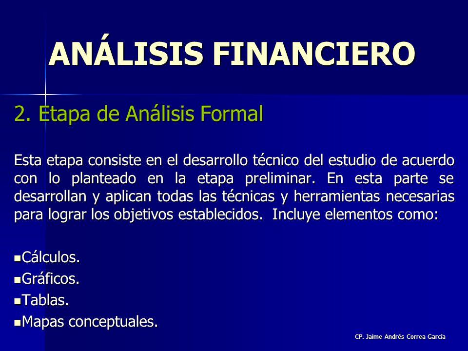 CP. Jaime Andrés Correa García 2. Etapa de Análisis Formal Esta etapa consiste en el desarrollo técnico del estudio de acuerdo con lo planteado en la