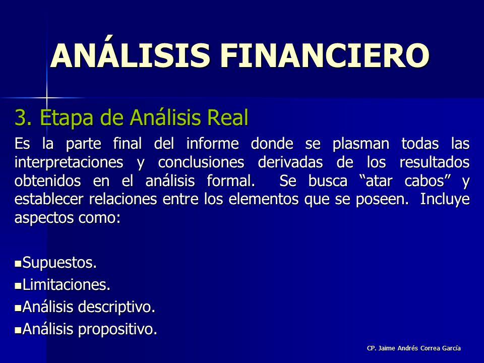 CP. Jaime Andrés Correa García 3. Etapa de Análisis Real Es la parte final del informe donde se plasman todas las interpretaciones y conclusiones deri