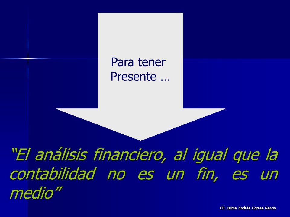 CP. Jaime Andrés Correa García El análisis financiero, al igual que la contabilidad no es un fin, es un medio Para tener Presente …