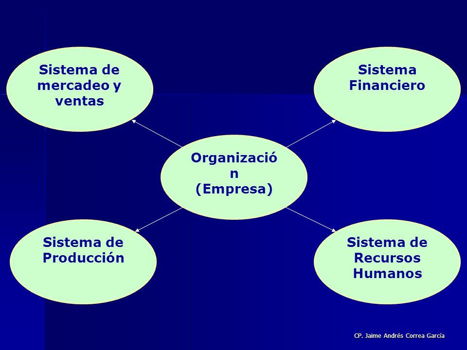 CP. Jaime Andrés Correa García Sistema de mercadeo y ventas Organizació n (Empresa) Sistema de Producción Sistema de Recursos Humanos Sistema Financie