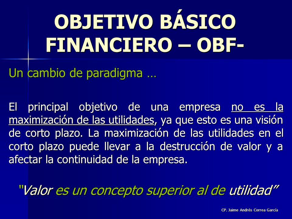 CP. Jaime Andrés Correa García Un cambio de paradigma … El principal objetivo de una empresa no es la maximización de las utilidades, ya que esto es u