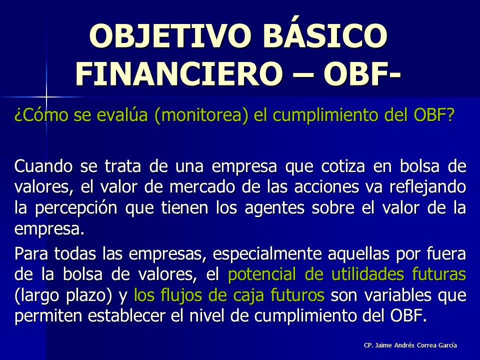 CP. Jaime Andrés Correa García ¿Cómo se evalúa (monitorea) el cumplimiento del OBF? Cuando se trata de una empresa que cotiza en bolsa de valores, el