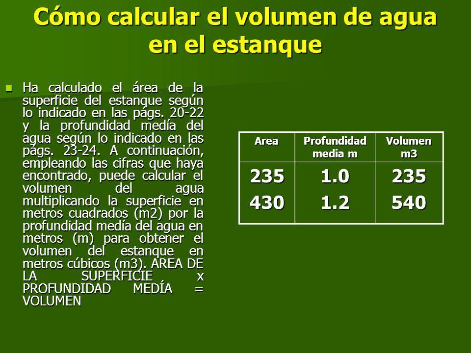 Cómo calcular el volumen de agua en el estanque Ha calculado el área de la superficie del estanque según lo indicado en las págs.