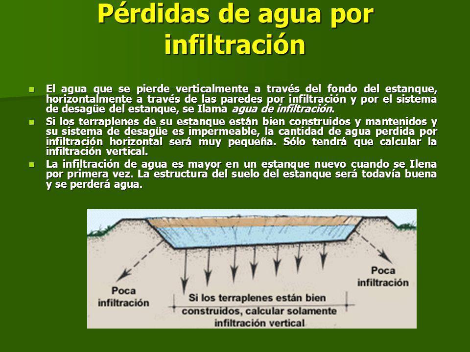 Pérdidas de agua por infiltración El agua que se pierde verticalmente a través del fondo del estanque, horizontalmente a través de las paredes por infiltración y por el sistema de desagüe del estanque, se Ilama agua de infiltración.